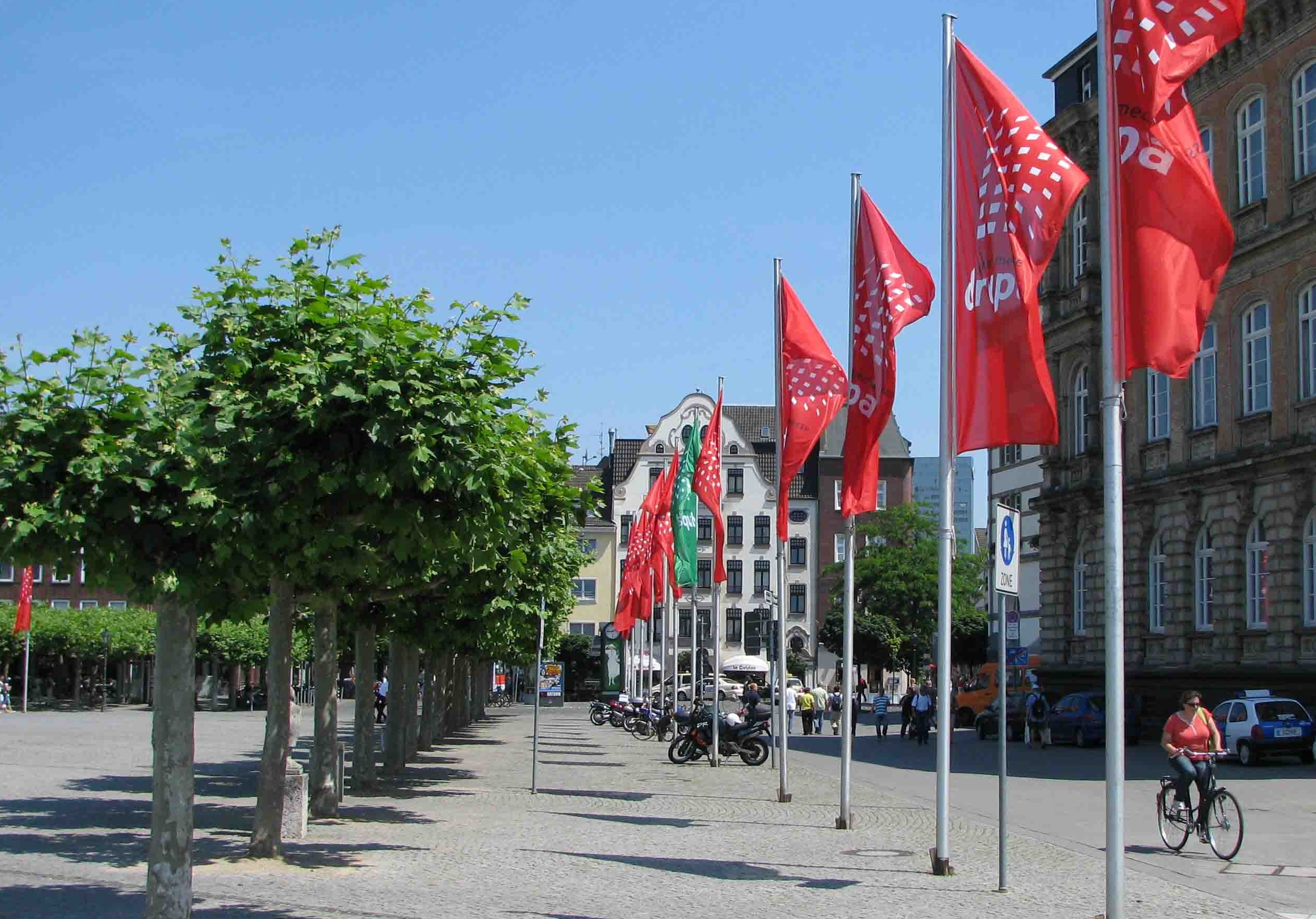 Dusseldorf Altstadt with DRUPA flags